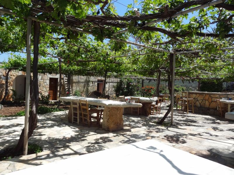 Tables at Viklari under the vines with great views over the Sea, 15 Minutes by Car