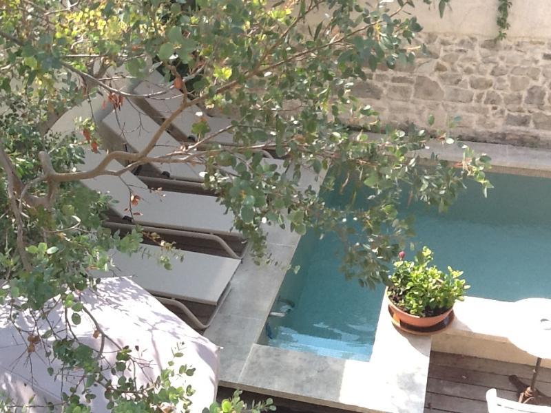 C est l été, la petite piscine est prête chauffée à 22 degres