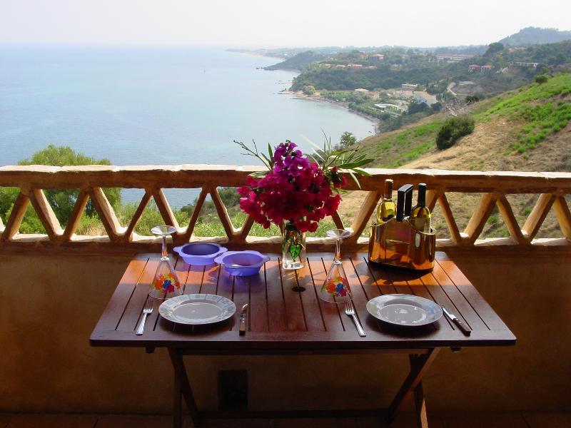 balcony overlooking the ionian sea