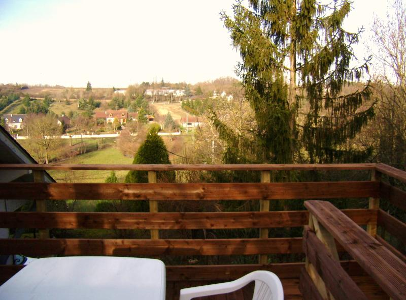 view over the valley from the deck