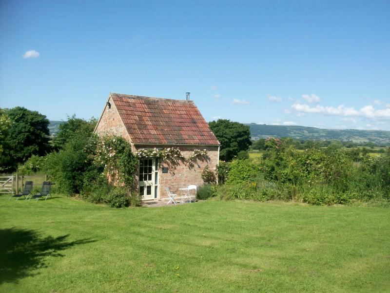 Ian's Cottage with the Mendip Hills in the distance