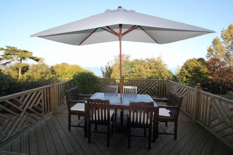 Large, secluded sunshine decking with wonderful sea views.