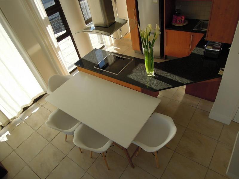 Top shot of dining and kitchen