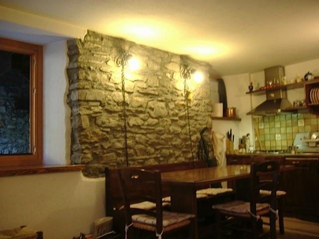 Table with stone wall