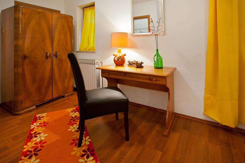 the desk in the bedroom