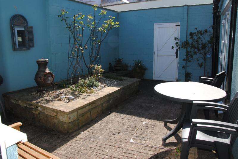 The very private and sunny patio area