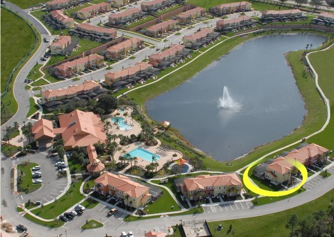 Overview Encantada clubhouse and this townhouse (Yellow circle)