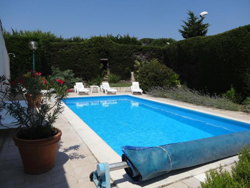 Swimming Pool Faces South surrounded by Tall Hedge and Plants