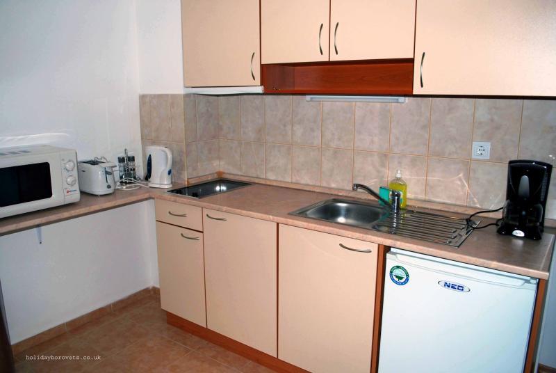 Kitchen includes hob, microwave, kettle, coffee maker, crockery & cutlery