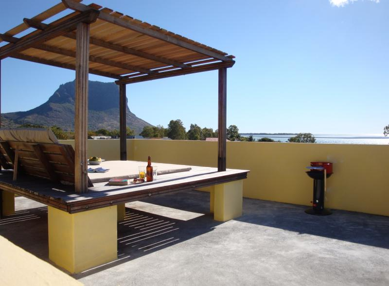 Shared roof terrace view of Le Morne