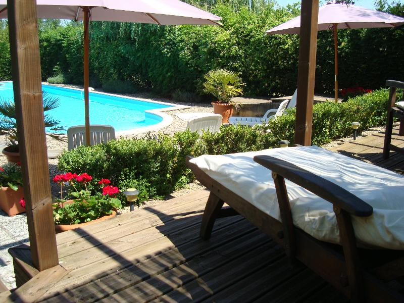 Secure 12m x 6 m pool with raised sun deck and plenty of shade,