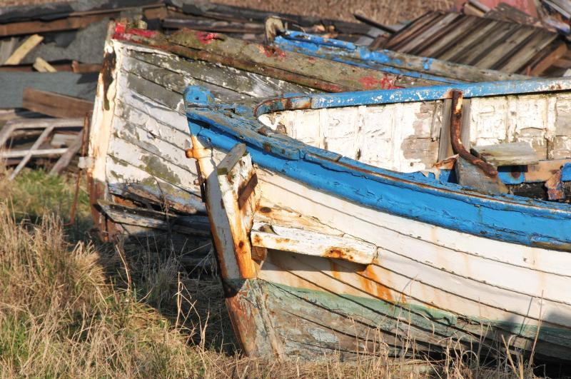 Traditional fishing coble in Beadnell