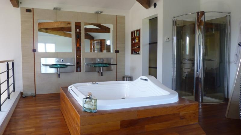 The Jacuzzi bath in the master suite