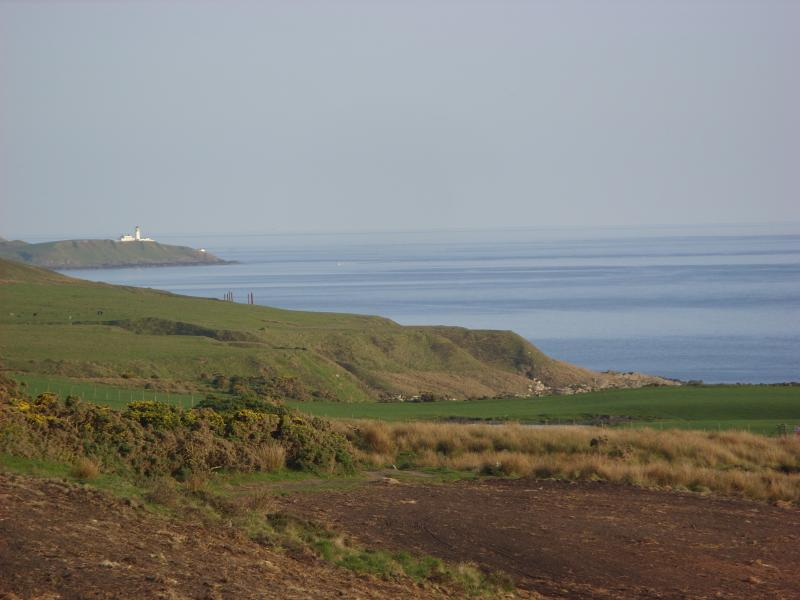 Looking along the coast to Killantringan Lighthouse where another beach can be found.
