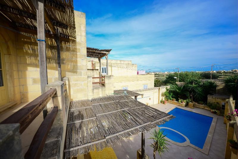 terrace overlooking pool area