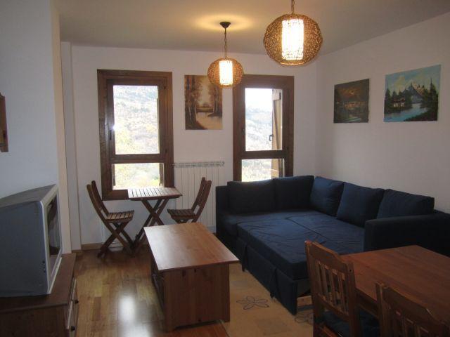 Salon con sofa cama de 1,50 metros, espectaculares vistas a pistas y al valle