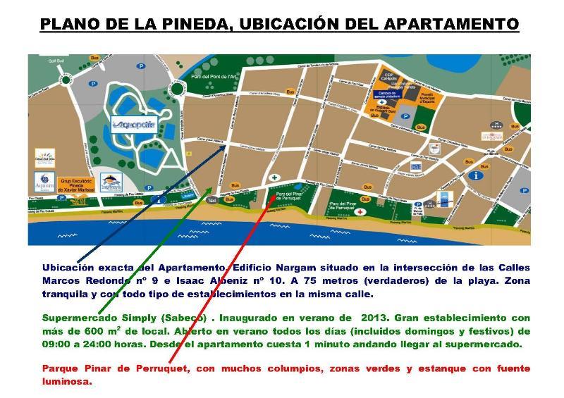 Plano de la Pineda con ubicación del apartamento. Muy cerca de la playa
