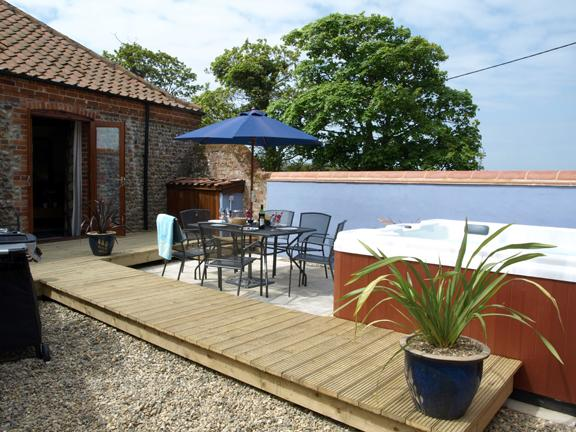 Private Garden with Hot Tub & Gas BBQ with seating for 8 overlooking open fields. Level decking.