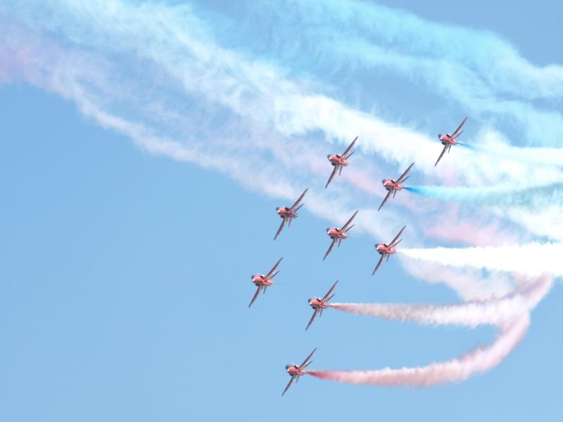 Red Arrows at Cromer Carnival.
