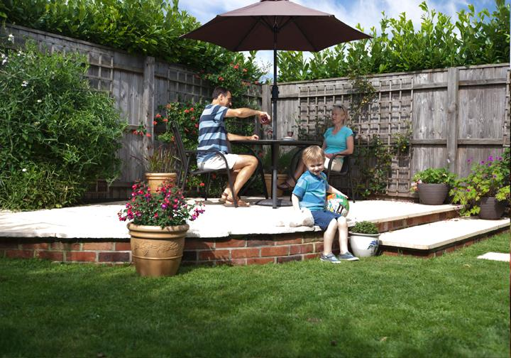 Fully enclosed garden with table and chairs