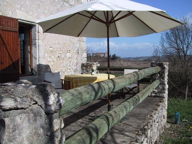 The (private) terrace, with a view of the castle in the background
