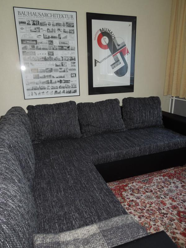 The sofa offers comfortable seating for six and can be converted to sleep 3 individuals