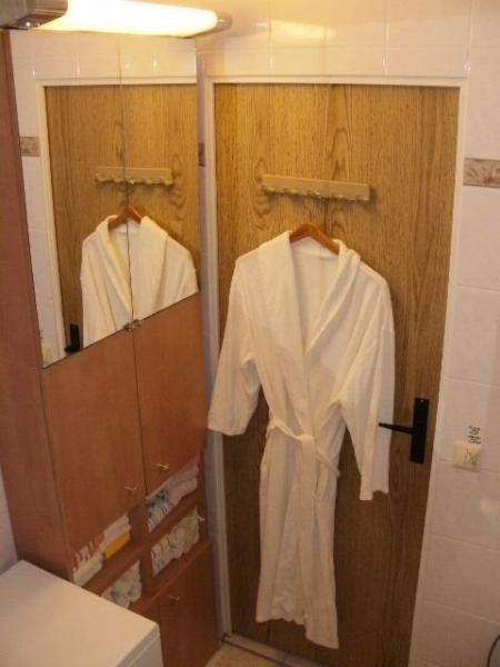 A washer/dryer located in the bathroom allows the opportunity to fix wardrobe malfunctions.
