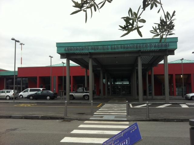 Perugia A/port -  only 30 mins to house.  We paid £16 for Ryan Air fares from Stansted - 2hrs