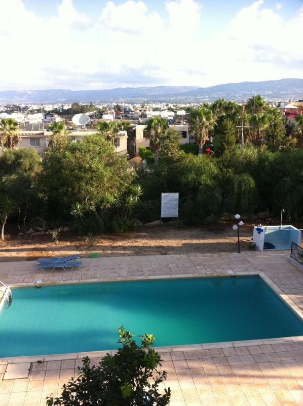 Pool ,garden and mountains