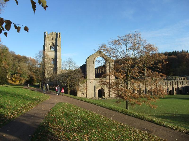 Fountains Abbey in autumn