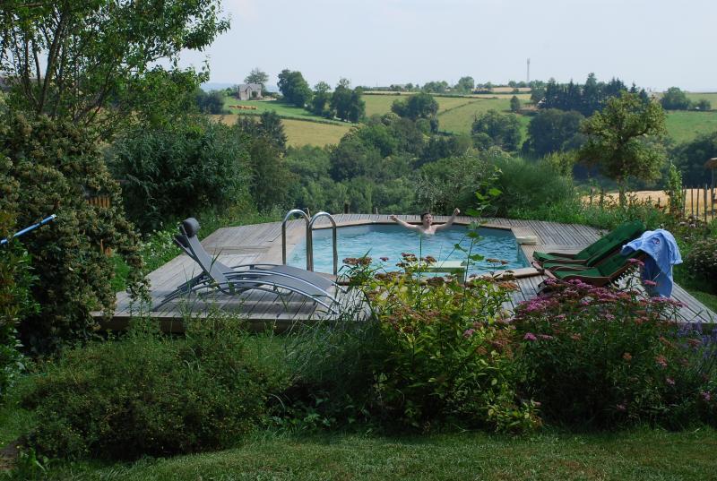 Vista de la piscina y el campo circundante