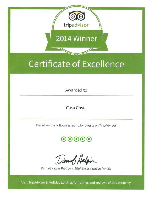 Tripadvisor - Certificate of Excellence 2014