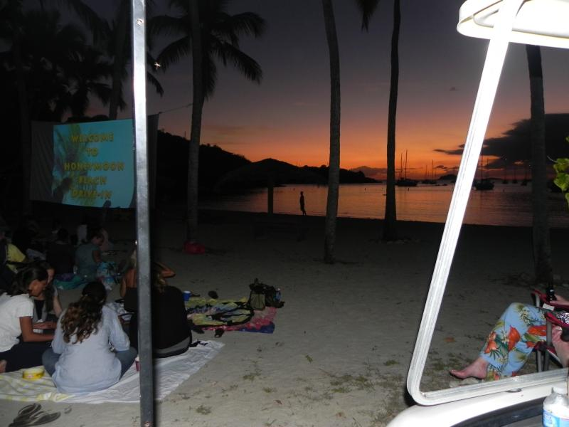 Drive in movies on the beach; watched from your golf cart