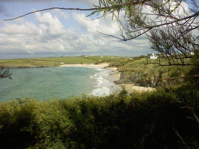 View of Harlyn Bay from cliff top