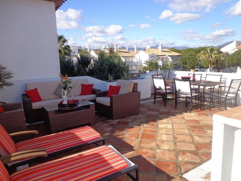The large sunny terrace with dual aspect views