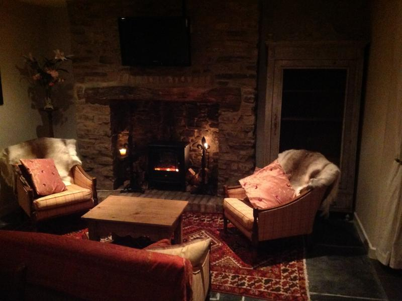 Get nice and cosey next to the gorgeous fire place.