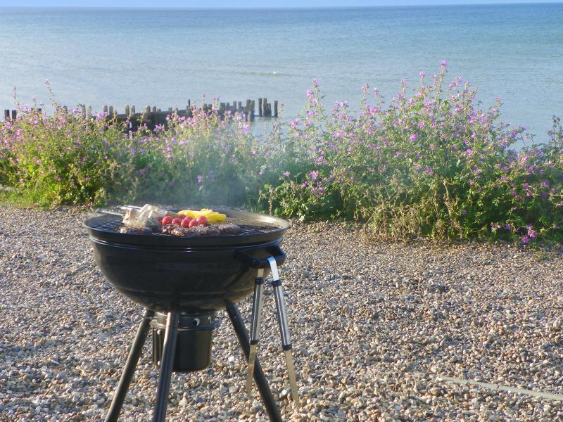 BBQ on the front porch - you couldn't get much closer to the sea
