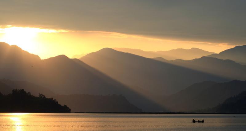 sunset view of the Fewa Lake