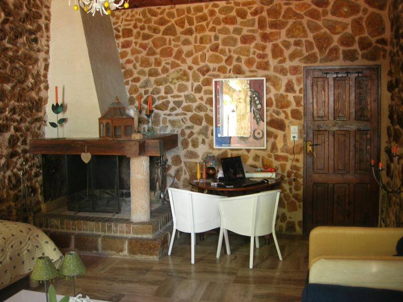 Fireplace and dining corner