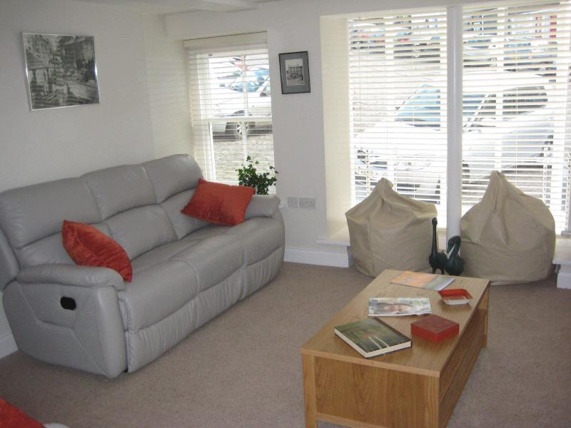 Lounge with reclining sofas and a big TV