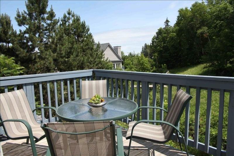 Scenic mountain views from a large and sunny walk-out deck with dining area.