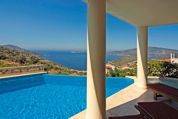 Wonderful infinity pool with amazing  views of Kalkan Bay and harbour. Swim with the sun and stars
