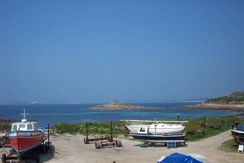 The view from the sitting room of 'Serica' apartment with Samson, Bryher and Tresco on the