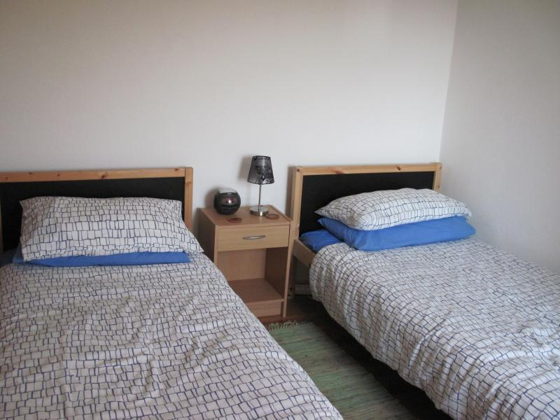 Twin beds in the bedroom