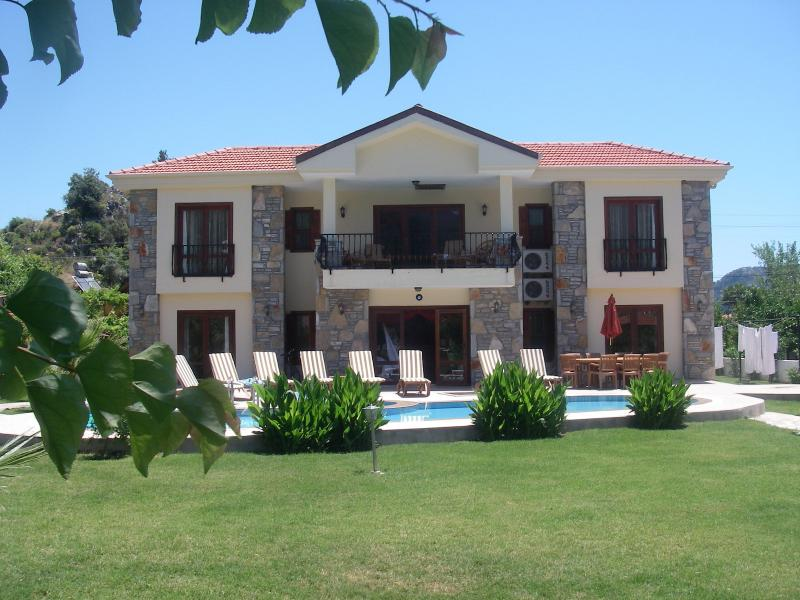 Your private holiday villa from the bottom of the extensive gardens.