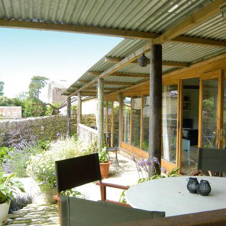 You can have coffee on the terrace at Top Yard Barn