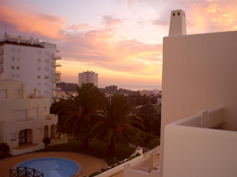 Balcony view in evening twilight