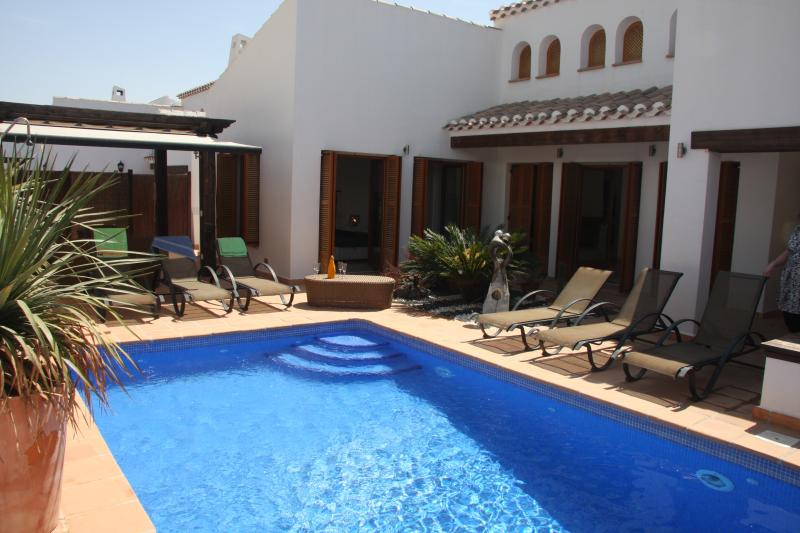 Private pool with plenty of room to relax, sun bathe, have a chilled drink or BBQ, out door shower