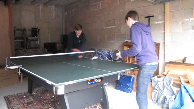 Table tennis in the garage at Wyewood Cottage