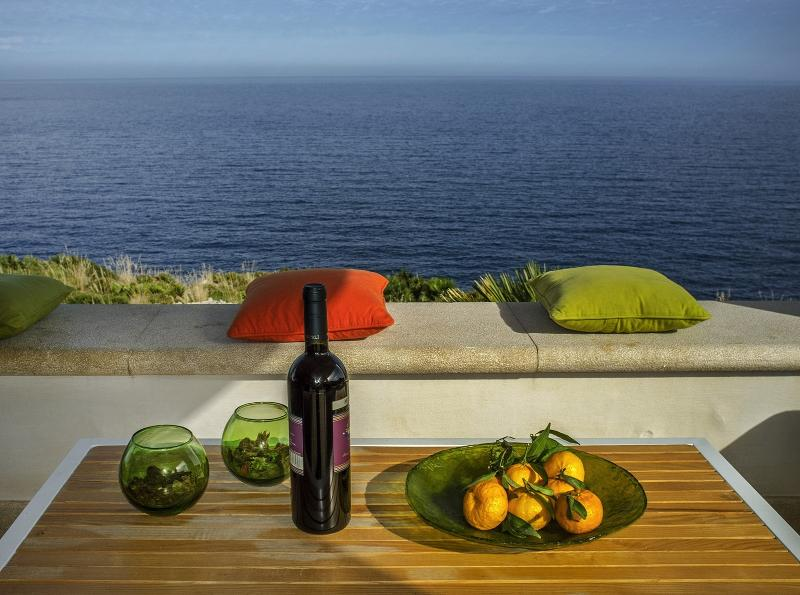chalet Le Palmette sea front, the chalet is set on a rocky bay